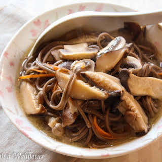 Three Mushrooms Soba Noodle Miso Soup.