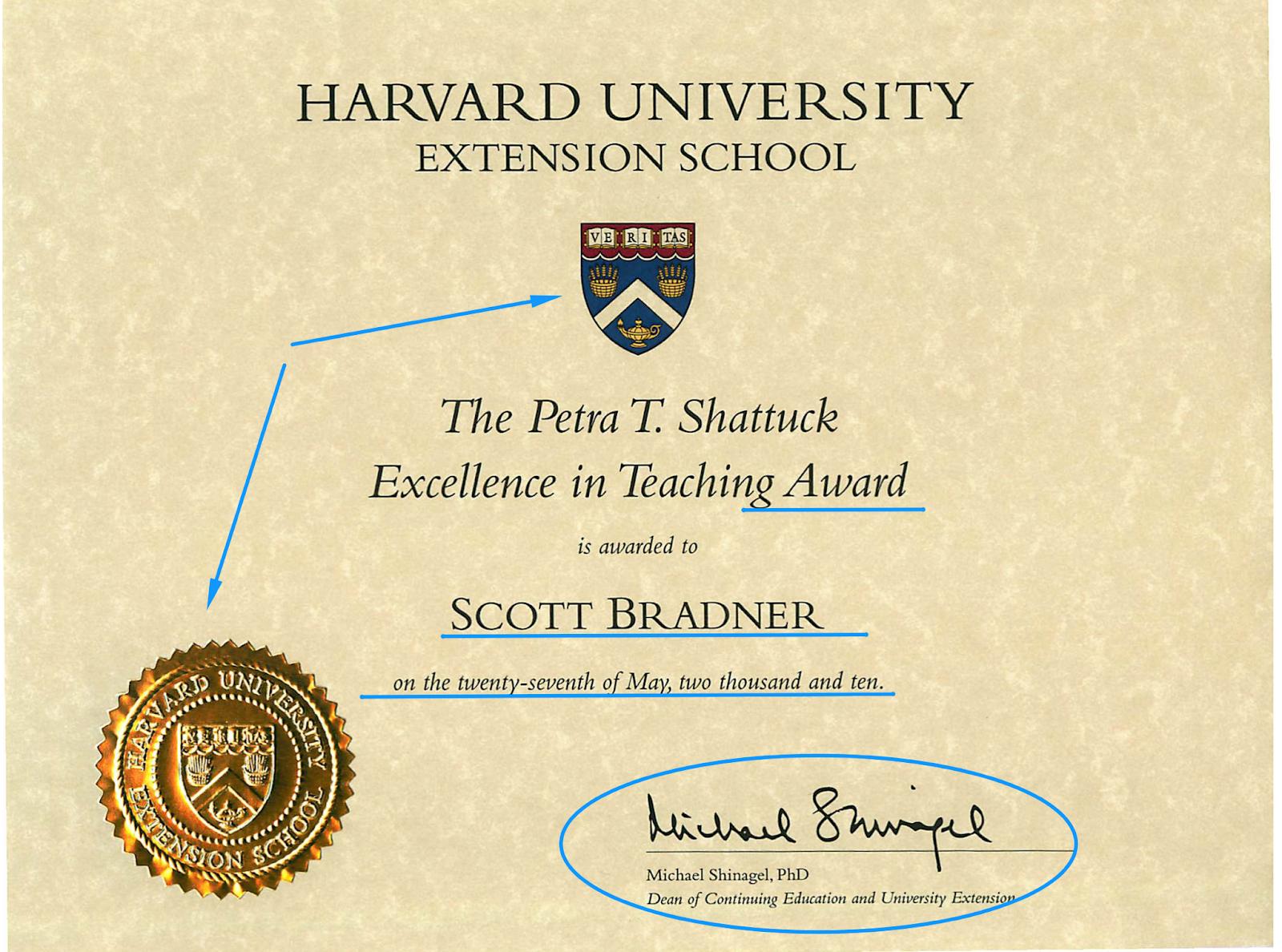Harvard School certificate template