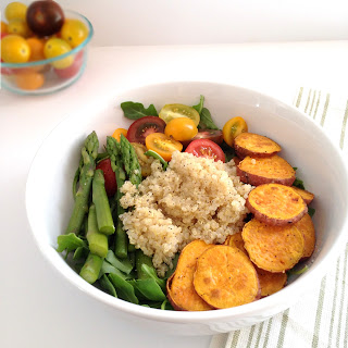 Quinoa Arugula Salad with Roasted Sweet Potato.