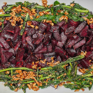 Buttery Beets With Sautéed Dandelion Greens and Pecans.