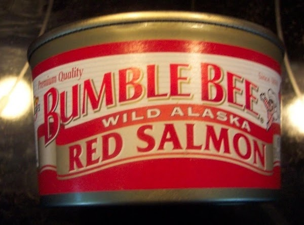 Open small can of salmon, I do not use the bones or skin.Combine the...