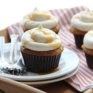 Spiced Apple Pie Cupcakes with Caramel Buttercream Frosting.
