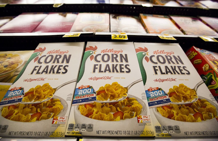 Kellogg's Corn Flakes cereal is pictured at a grocery store in Pasadena, California. Picture: REUTERS