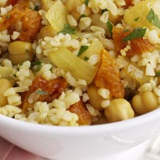 Bulgur Pilaf with Garbanzos and Dried Apricots.
