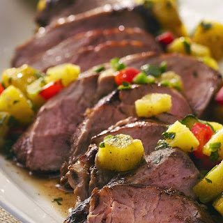 Grilled Caribbean Pork with Pineapple Salsa.