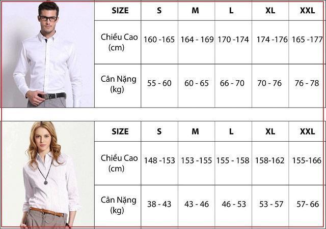 Bảng size áo sơ mi nam nữ Châu Á