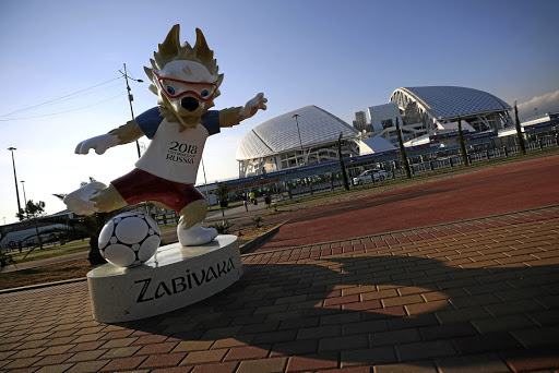 The 2018 Soccer World Cup mascot outside the Fisht Olympic Stadium in Sochi, Russia. Picture: REUTERS