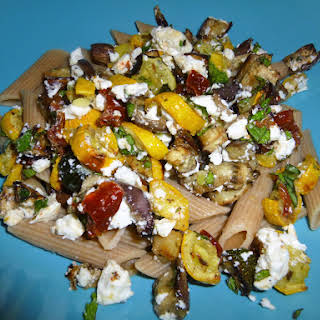 Roasted Garden Vegetables with Whole Wheat Pasta, Goats Cheese and a Lemon and Balsamic Dressing.