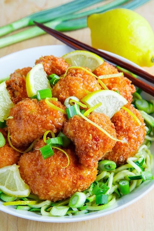 Crispy Honey Lemon Cauliflower on Chili and Garlic Stir Fried Zoodles