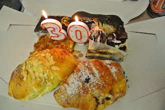 Photo: Birthdays start early for us. Feraz surprised me with pastries for breakfast.