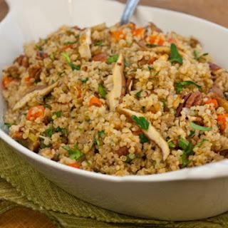 Warm Quinoa Pilaf Salad with Shiitake Mushrooms, Carrots & Pecans.