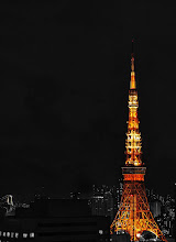 "Photo: Tokyo Tower  This is a view of the Tokyo Tower as seen from one of the conference rooms in my office. At night, the view can actually be quite pretty. I figured it's about time to show a few ""nicer"" shots of my office area, lest people think I work in a haunted house or something. :P  Did you know that the tip of the Tokyo Tower was bent during the quake? I didn't know until recently, but I believe it has been repaired by now.  I wanted the Tokyo Tower to stand out in this shot, so I converted the image to B/W first, and then masked the area containing the Tokyo Tower in the original image back in. I've seen this technique used in other shots before, but this is the first time I've given it a try myself, and I rather like how it turned out.  Good night from Tokyo! :)  #creative366project"