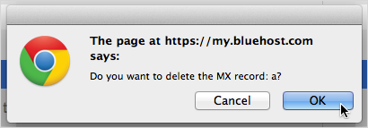 MX records deletion confirmation dialog