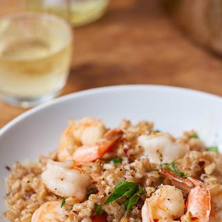 Garlic Basil Shrimp Farrotto.