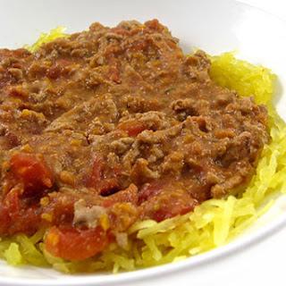 Skinny Turkey Bolognese Served Over Nutritious Spaghetti Squash
