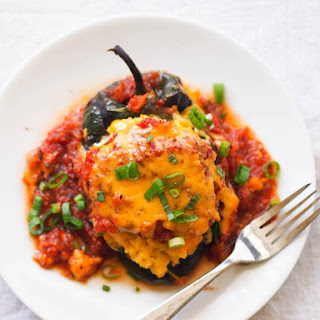 Cheese Grits Stuffed Poblanos with Tomato Gravy.