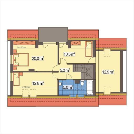 Adaś II wersja B z pojedynczym garażem - Rzut poddasza