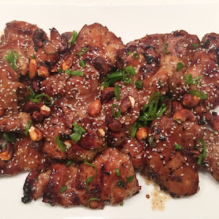 Grilled Soy-Basted Chicken Thighs with Spicy Cashews Recipe