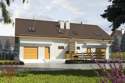 projekt Radosna z garażem 1-st. bliźniak A-BL2