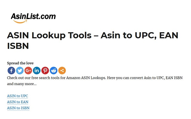 Amazon to UPC,EAN,ISBN Lookups - AsinList.com