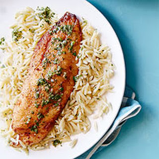 Green Goddess Tilapia on Orzo