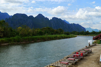 Photo: Scenic view of Vang Vieng. Our guesthouse is situated right next to Nam Song river