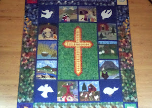 Photo: We stopped at the Miklibaer Church in Skagafjorour.  The alterpiece, made by ladies of the church, took three years to complete.