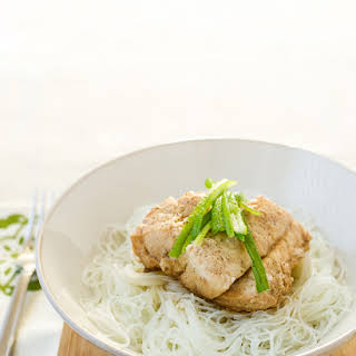 Steamed Cod with Ginger and Scallions.