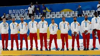 La Selección Española en el podio.