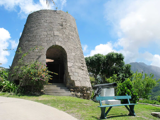 Montserrat-sugar-mill-and-cannon-at-waterworks - Part of the Waterworks estate on Montserrat.