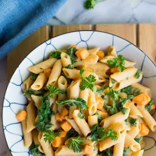 Creamy White Bean Pasta with Sweet Potato & Kale.