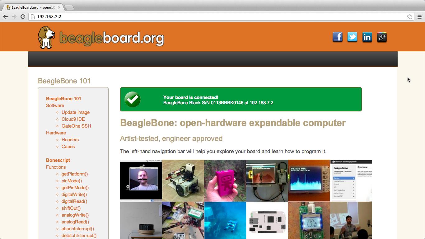 Beaglebone black start page