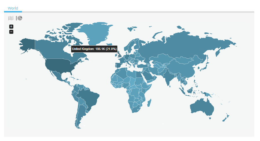 World Map: United Kingdom, 186.1K (21.0%)