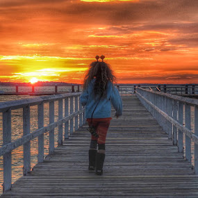 Walking the pier on Halloween  by Ann Goldman - Uncategorized All Uncategorized ( halloween, pier, sunset, cloudscape, clouds, hull )