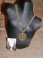Photo: <BEREHYNYA> {Great Goddess Protectress} unique one-of-a-kind statement jewellery by Luba Bilash ART & ADORNMENT  Brass, moss green agate SOLD/ПРОДАНИЙ