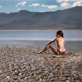 Mud queen by Jason Elphick - Nudes & Boudoir Artistic Nude ( water, topless, dry, mud, dam, oil, drought )