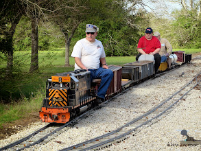 Photo: Gearld Lee, Chris Tolley, and Bob Barnett leaving Caliente for West Sumrall.  HALS OPS Day 2014-0329 RPW