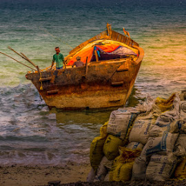 An Indian traditional small cargo boat by Prabir Sen - Transportation Boats ( landscapes, waterscapes, sunset, vessel, boat )