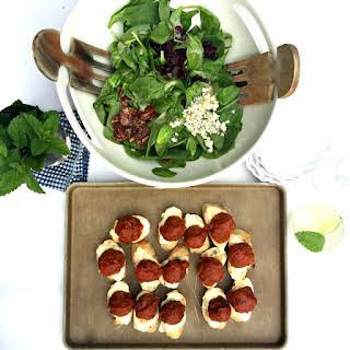 Easy Meatball Crostini Appetizer.