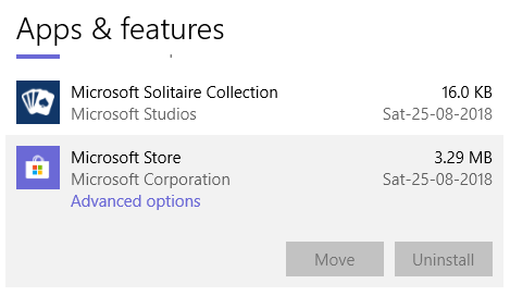 Advanced options hyperlink below the Microsoft Store entry in app list