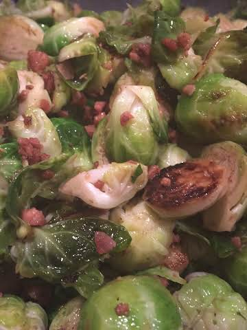 Pan Roasted Bacon Brussle Sprouts