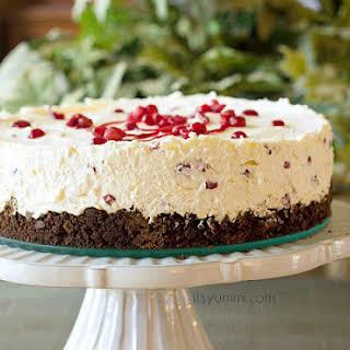 Pomegranate No Bake Whipped Cream Cheesecake.