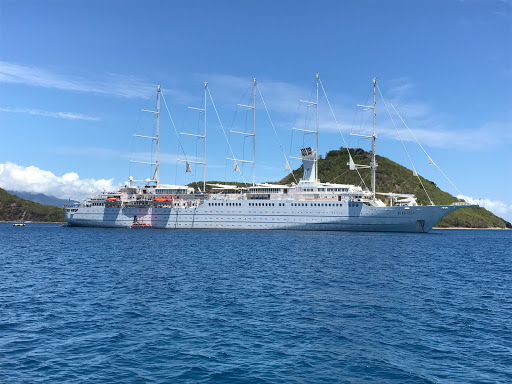 The premium ship Wind Surf alights in Guadeloupe during a Caribbean cruise.