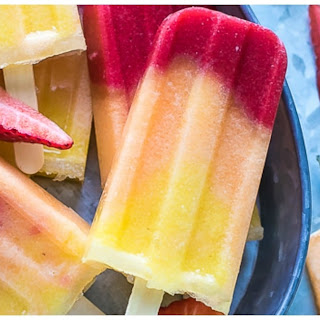Pineapple Strawberry Cantaloupe Popsicles.