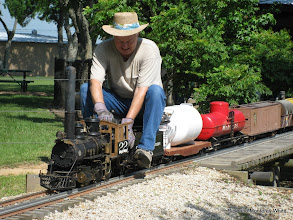 Photo: Phillip Bell on C&S #22, a narrow gauge 2-6-0.  HALS-SLWS 2009-0522