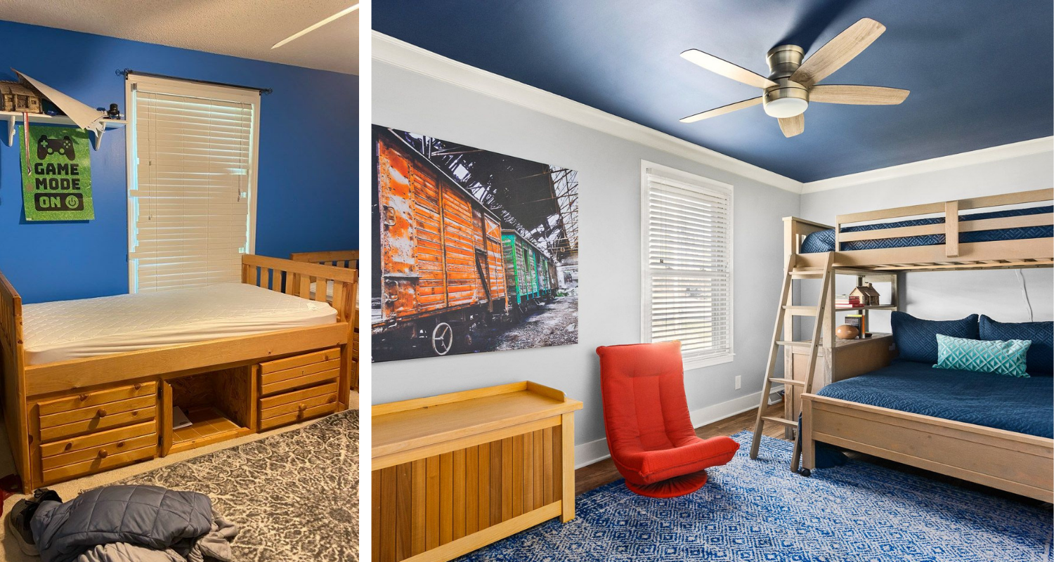 Superior construction and design Lebanon, TN 1970s Ranch Reno boys bedroom before and after reno. bunk beds navy ceiling