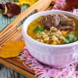 Hearty Slow Cook Beef Barley Soup.