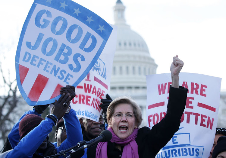 Senator Elizabeth Warren speaks during a rally 'to fight-back against the Republican war on the working class' on February 16, 2017, at Upper Senate Park on Capitol Hill in Washington, DC. Picture: ALEX WONG/ GETTY IMAGES