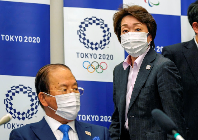 Seiko Hashimoto (right), president of the Tokyo 2020 Organising Committee, attends a media briefing with Toshiro Muto (left), CEO of Tokyo 2020, after a council meeting in Tokyo, Japan, March 3 2021. Picture: REUTERS/KIMIMASA MAYAMA
