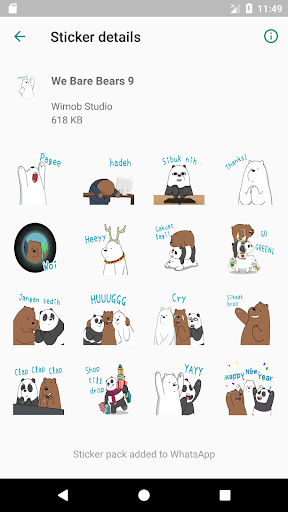 We Bare Bears Stickers for WAStickerApps screenshot 4